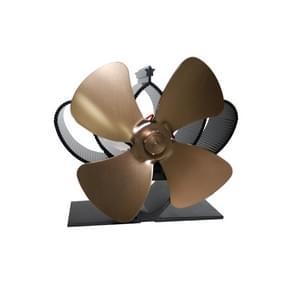 YL201 4-Blade hoge temperatuur metalen warmte aangedreven open haard kachel ventilator (brons)