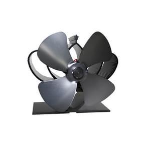 YL201 4-Blade hoge temperatuur metalen warmte aangedreven open haard kachel fan (grijs)