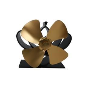 YL201 4-Blade hoge temperatuur metalen warmte aangedreven open haard kachel fan (goud)