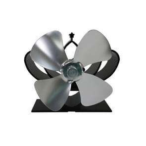 YL201 4-Blade hoge temperatuur metalen warmte aangedreven open haard kachel fan (zilver)