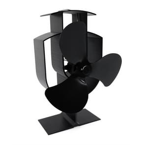 YL401 3-Blade High Temperature Metal Heat Powered Fireplace Stove Fan (Black)