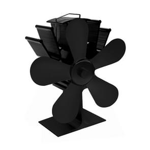 YL602 5-Blade High Temperature Metal Heat Powered Fireplace Stove Fan (Black)