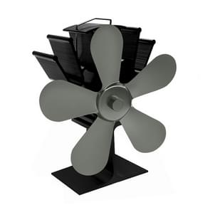 YL602 5-Blade High Temperature Metal Heat Powered Fireplace Stove Fan (Grey)
