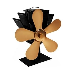 YL602 5-Blade High Temperature Metal Heat Powered Fireplace Stove Fan (Gold)
