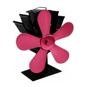 YL602 5-Blade hoge temperatuur metalen warmte aangedreven open haard kachel fan (Rose rood)