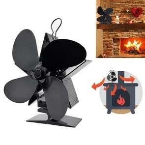 4-Blade Aluminum Heat Powered Fireplace Stove Fan (Black)