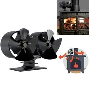 Double Head 8-Blade Aluminum Heat Powered Fireplace Stove Fan