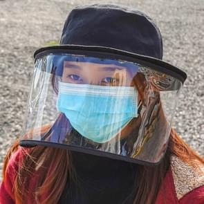 Anti-Speeksel Splash Anti-Spitting Anti-Fog Anti-Oil Beschermende Cap Fishman Hat Mask verwijderbare Face Shield (Zwart)
