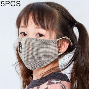 5 PCS voor 6-12 jaar Kids Lattice Washable Filter Protection PM2.5 Stofdicht gezichtsmasker  random color delivery