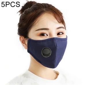5 PCS voor heren Vrouwen Wasbare Vervangbare Filter Breath-Valve PM2.5 Stofdicht gezichtsmasker (Navy Blue)