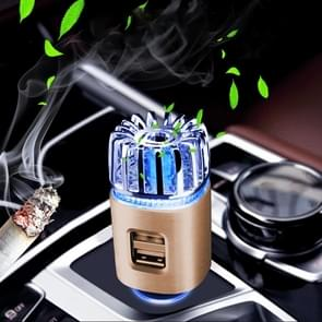2 in 1 Auto Negatief-ion Aromatherapie Luchtreiniger Bevochtiger + Dual USB Port Car Charger (Goud)