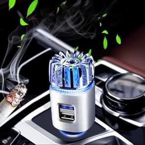2 in 1 Auto Negatief-ion Aromatherapie Luchtreiniger Bevochtiger + Dual USB Port Car Charger (Zilver)