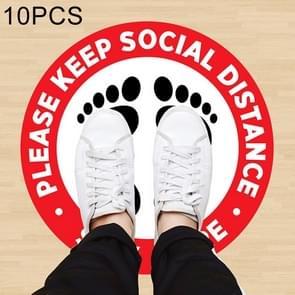 10 PCS Zelfklevende waterdichte PVC Epidemische Preventie Sociale Afstand vloerstickers  lengte:24cm