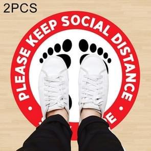 2 PCS Zelfklevende waterdichte PVC Epidemische Preventie Sociale Afstand vloerstickers  lengte:60cm