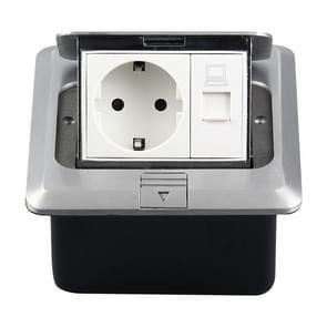 Hidden Pop-up Aluminum Alloy Computer Floor Socket with Cover Bottom Box, EU Plug