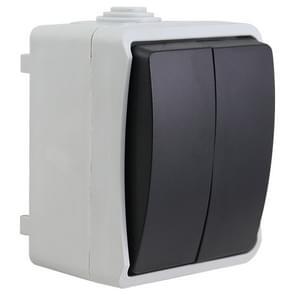 IP44 Waterproof Kitchen Bathroom Double-connection Single Control Switch, EU Plug