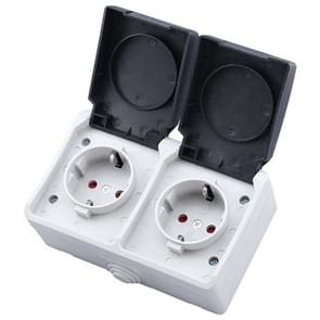 IP44 Waterproof Double-connection Socket with Cover, EU Plug