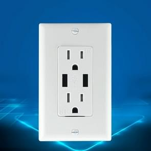 PC Double-connection Power Socket Switch, US Plug, Round White UL 15A Double Plug