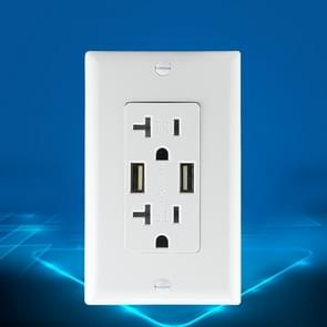 PC Double-connection Power Socket Switch with USB, US Plug, Square White UL 15A Leakage Protection Socket
