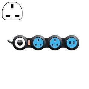 Oplaad plug-in bedradings bord creatieve roterende Towline Board 13A vervormd stopcontact met USB, UK plug, 3-bit socket (zwart)