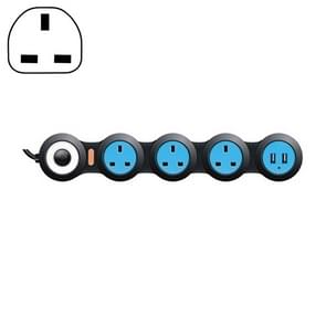 Charging Plug-in Wiring Board Creative Rotary Towline Board 13A Deformed Socket with USB, UK Plug, 4-Bit Socket(Black)
