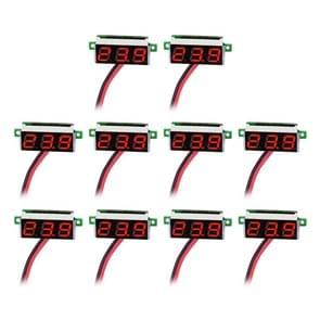 10 PCS 0.36 inch 2 Wires Digital Voltage Meter, Color Light Display, Measure Voltage: DC 2.5-30V (Red)