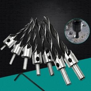 7 in 1 Woodworking Countersink Chamfer Three-Pointed High-Speed Steel Drill Bits Set, 3-10mm