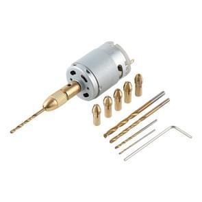 WLXY WL-DIY001 Mini DIY Brass elektrische boor Chucks boor Bits ingesteld DC-12V Motor