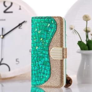 Laser Glitter Powder Crocodile Texture Matching Horizontal Flip Leather Case with Card Slots & Holder For Huawei P30 Lite(Green)
