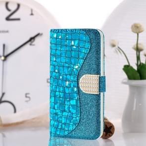 Krokodil textuur matching horizontale Flip lederen draagtas met kaartsleuven & houder voor iPhone 8 plus & 7 Plus (blauw)