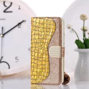 Krokodil textuur matching horizontale Flip lederen draagtas met kaartsleuven & houder voor iPhone X & XS (goud)