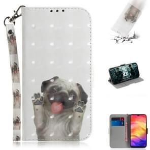 3D gekleurde tekening horizontale Flip lederen draagtas met houder & kaartsleuven & portemonnee voor Huawei P30 Lite (PUG)