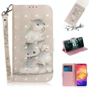 3D Coloured Drawing Horizontal Flip Leather Case with Holder & Card Slots & Wallet For Huawei Mate 20 X(Three Squirrels)