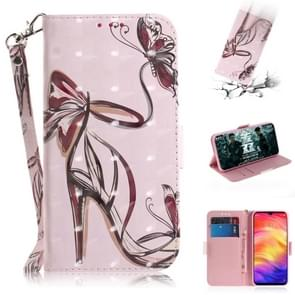 3D Coloured Drawing Horizontal Flip Leather Case with Holder & Card Slots & Wallet For Huawei Mate 20 X(Butterfly High Heels)