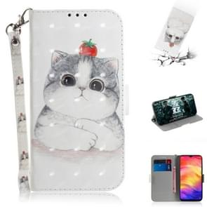 3D Coloured Drawing Horizontal Flip Leather Case with Holder & Card Slots & Wallet For Huawei Mate 20 X(Cute Cat)