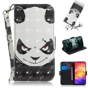 3D Coloured Drawing Horizontal Flip Leather Case with Holder & Card Slots & Wallet For Redmi Note 7(Angry Bear)