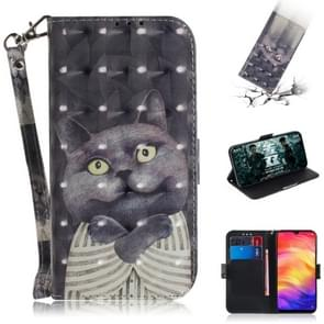 3D Coloured Drawing Horizontal Flip Leather Case with Holder & Card Slots & Wallet For Redmi Note 7(Embrace Cat)