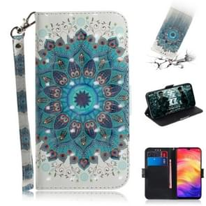 3D Coloured Drawing Horizontal Flip Leather Case with Holder & Card Slots & Wallet For Redmi Note 7(Peacock Wreath)