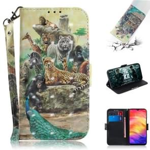 3D Coloured Drawing Horizontal Flip Leather Case with Holder & Card Slots & Wallet For Redmi Note 7(Zoo)