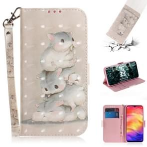 3D Coloured Drawing Horizontal Flip Leather Case with Holder & Card Slots & Wallet For Redmi Note 7(Three Squirrels)