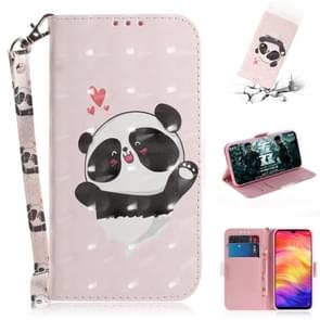 3D Coloured Drawing Horizontal Flip Leather Case with Holder & Card Slots & Wallet For Redmi Note 7(Love  Panda)