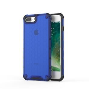 Schokbestendige honingraat PC + TPU beschermende case voor iPhone 8 plus & 7 Plus (blauw)