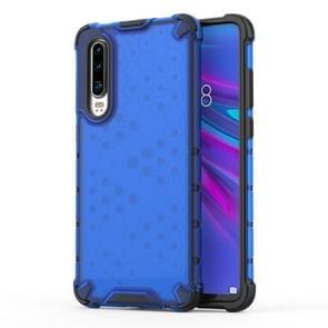 Schokbestendige honingraat PC + TPU beschermende case voor Huawei P30 Lite (blauw)