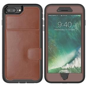 Leather Protective Case with Holder & Card Slot For Galaxy S9 Plus(Brown)