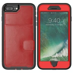 Leather Protective Case with Holder & Card Slot For Galaxy S9 Plus(Red)