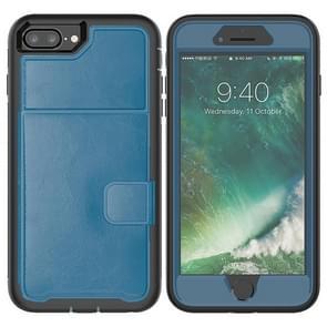 Lederen beschermhoes met houder & Card slot voor iPhone 6 plus & 6s plus (blauw)
