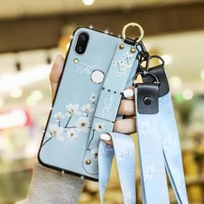 Fashion Cloth Texture TPU Protective Case with Wristband & Holder & Lanyard For Galaxy S10 Plus(White Magnolia Pattern)