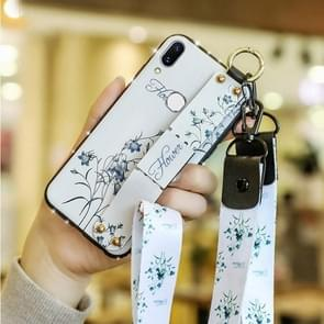 Fashion Cloth Texture TPU Protective Case with Wristband & Holder & Lanyard For Huawei P30 Lite(Myosotis Sylvatica Pattern)