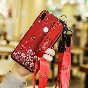 Fashion Cloth Texture TPU Protective Case with Wristband & Holder & Lanyard For Huawei Mate 20 X(Butterfly Flower Red Pattern)