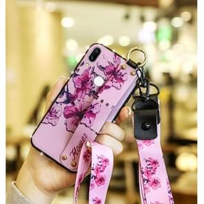 Fashion Cloth Texture TPU Protective Case with Wristband & Holder & Lanyard For Redmi Note 7(Fragrant Vine Pattern)